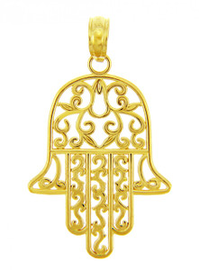 Jewish Charms and Pendants - 14K Yellow Gold Hamesh Hand Charm