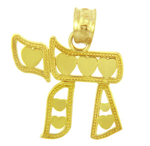 Jewish Charms and Pendants - 14K Yellow Gold Chai With Hearts