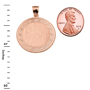 Greek Key Rose Gold Engravable Round Pendant