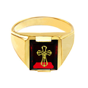 Solid Yellow Gold Red CZ Stone Crucifix Signet Men's Ring