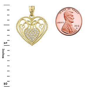 Diamond Heart Pendant With Trinity Knot and Filigree Hearts Design in Yellow Gold
