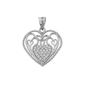 Heart Pendant With Trinity Knot and Filigree Hearts Design in White Gold