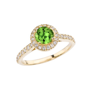 Yellow Gold Diamond and Peridot  Engagement/Proposal Ring