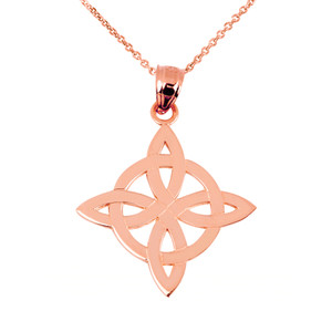 Rose Gold Irish Celtic Trinity Pendant Necklace