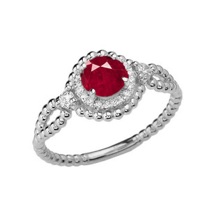 Diamond Engagement Ring White Gold Rope Double Infinity Center Ruby (LCR)