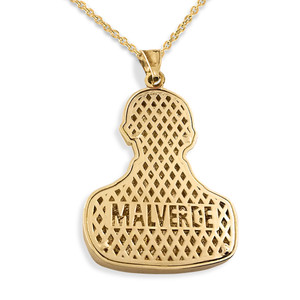 Solid Yellow Gold Double Sided Diamond Cut Malverde Pendant Necklace