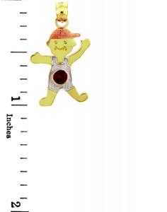 Boy Tri Tone Birthstone Charm w/ CZ Red Stone