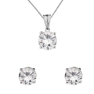10K  White  Gold April Birthstone Cubic Zirconia Pendant Necklace & Earring Set
