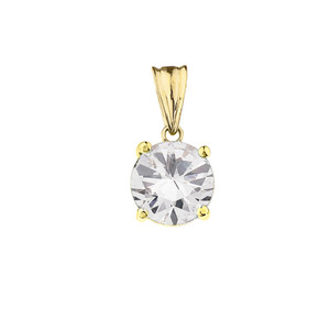 10K Yellow Gold April  Birthstone Cubic Zirconia (CZ) Pendant Necklace