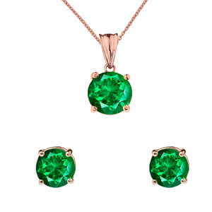 10K Rose  Gold May Birthstone Emerald (LCE) Pendant Necklace & Earring Set