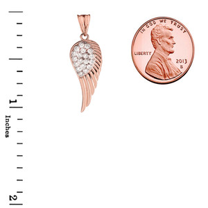 Elegant Rose  Gold  Diamond Angel Wing  Pendant Necklace