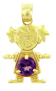 CZ Amethyst Girl With Pigtails Birthstone Charm