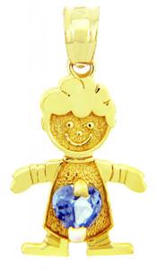 CZ Blue Topaz Birthstone Charm