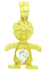 CZ Crystal Boy Yellow Gold Birthstone Charm