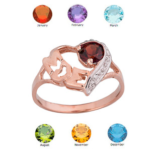 """Rose Gold Personalized """"Mom"""" Solitaire Open Heart Ring With Genuine Gemstone"""