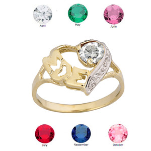 "Yellow Gold Personalized ""Mom"" Solitaire  Open Heart Ring With CZ Birthstone"