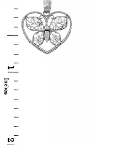 White Gold Butterfly in a Heart, filigree accent