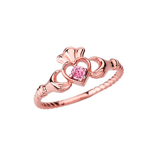 Rose Gold Pink Solitaire & Promise Open Heart Rope Claddagh Ring