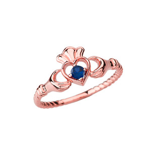 Rose Gold Genuine Sapphire Solitaire & Promise  Open Heart Rope Claddagh Ring