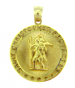 Gold Religious Pendants - The Saint Christopher Protect Us Round Yellow Gold Pendant