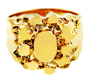 Stand Solid Gold Mens Nugget Ring