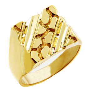 Men's Apex Solid Gold Nugget Ring