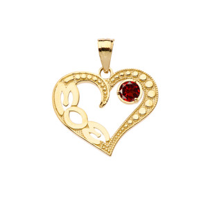 January Garnet (LC) 'MOM' Heart Pendant Necklace in Yellow Gold