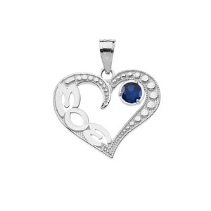 September Sapphire (LC) 'MOM' Heart Pendant Necklace in White Gold