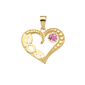 October Pink CZ 'MOM' Heart Pendant Necklace in Yellow Gold