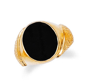 Mens Gold Oval Onyx Ring