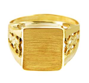 Men's Square Platform Solid Gold Signet Ring