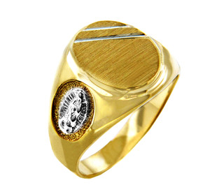 Our Lady of Guadalupe Two-Tone Solid Gold Signet Mens Ring