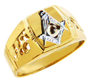White Freemason Square and Compass Two Tone Gold Mens Ring