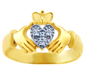 Gold Claddagh Rings - The White Heart Two Tone Gold Claddagh Ring with Diamonds