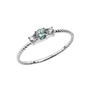 BoHo Elegant Blue Zircon and White Topaz Stackable Rope Ring in White Gold