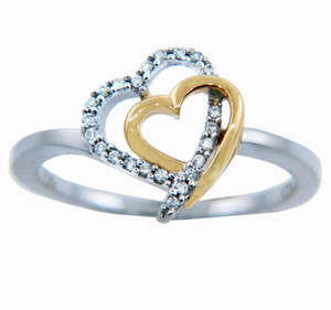 Ladies Rings - Two Tone Gold Heart Ring with Diamonds