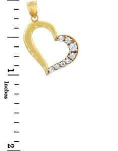 Gold Pendants - Gold Side to Side Heart Pendant