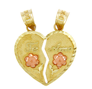 Two-tone Breakable Gold Te Amo Heart Pendant with Flowers