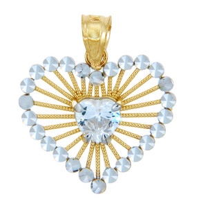 Gold Pendants - Clear Heart Two Tone Gold Pendant