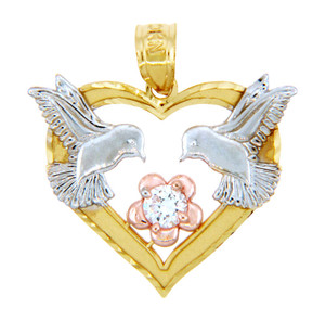 Gold Pendants - Three Tone Gold Heart Pendant with Lovebirds and Flower