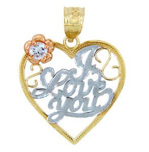 Gold Pendants - Gold I Love You Heart Pendant in Three Tones