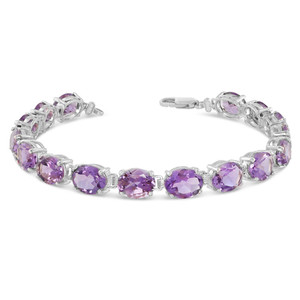 Oval Genuine Amethyst (9 x 7) Tennis Bracelet in White Gold