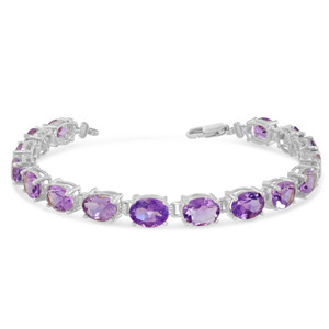 Oval Genuine Amethyst (8 x 6) Tennis Bracelet in White Gold