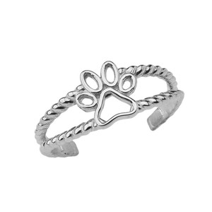 Dog Paw Rope Toe Ring in White Gold