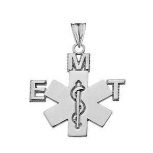 Emergency Medical Technician (EMT) Pendant Necklace in Sterling Silver