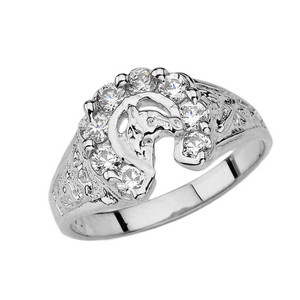 Lucky Horseshoe Ring in White Gold with 1 CT C.Z