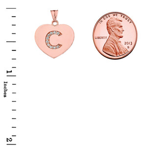 """Diamond Initial """"C"""" Heart Pendant Necklace in Rose Gold"""