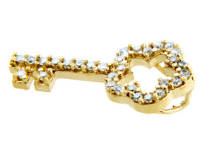 Keys Collections - Solid Gold Key Pendant with Cubic Zirconias