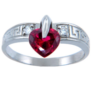 Ladies CZ Rings - Ruby-Red Cubic Zirconia Heart Ring in White Gold