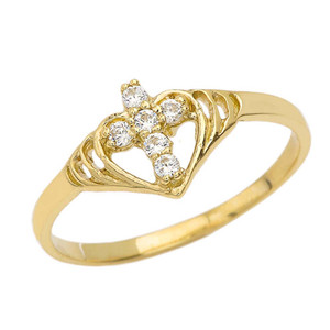 Heart with Cubic Zirconia Studded Cross Ring in Yellow Gold